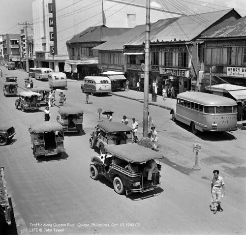 Traffic along Quezon Blvd., Quiapo, Philippines, Oct. 10, 1949 (2)