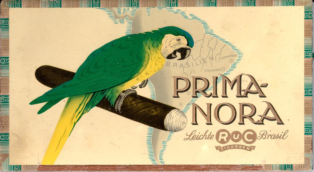 Zigarrenkiste (innenseite) von Prima Nora Zigarren der Firma RuC, um 1930