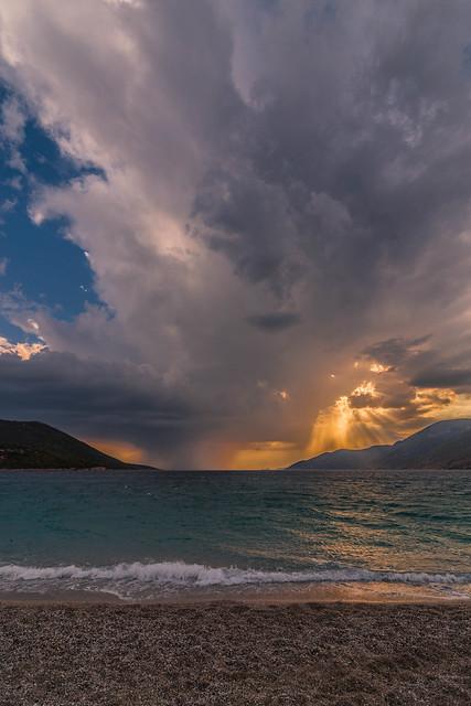 Raining at sunset