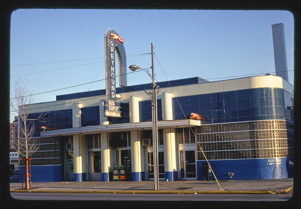 Greyhound Bus Depot, vertical view, Columbia, South Carolina (LOC)