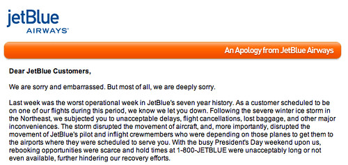 i just got an email from the JetBlue CEO (er, can i just h… | Flickr