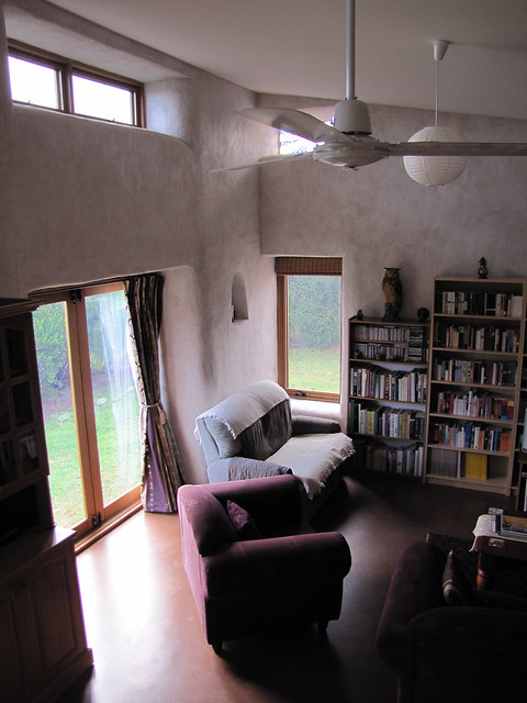 Lounge Facing East – Completed Strawbale House Build in Redmond Western Australia