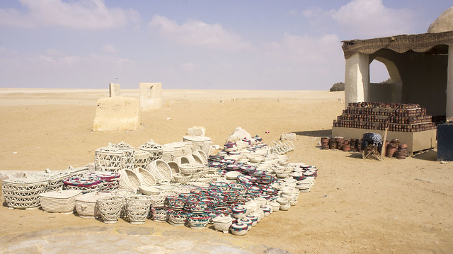 Handmade products market at Egypt's Wadi El Rayan protectorate