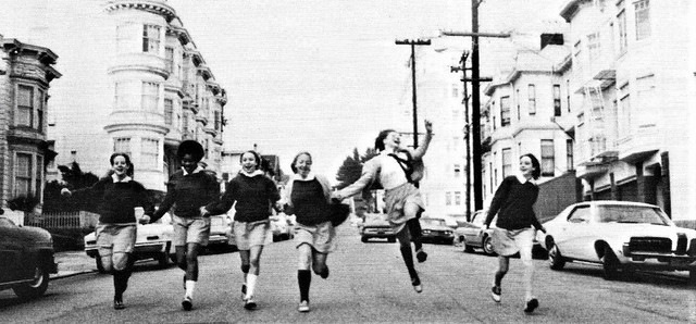 Girls headed down the hill to St. Rose Academy in 1970 San Francisco, CA