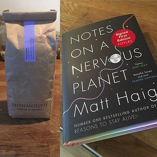 You know it's going to be a good weekend when it starts with some fresh beans from @monmouthcoffeecompany and the latest book from @mattzhaig #weekendvibes #notesonanervousplanet | by garretkeogh