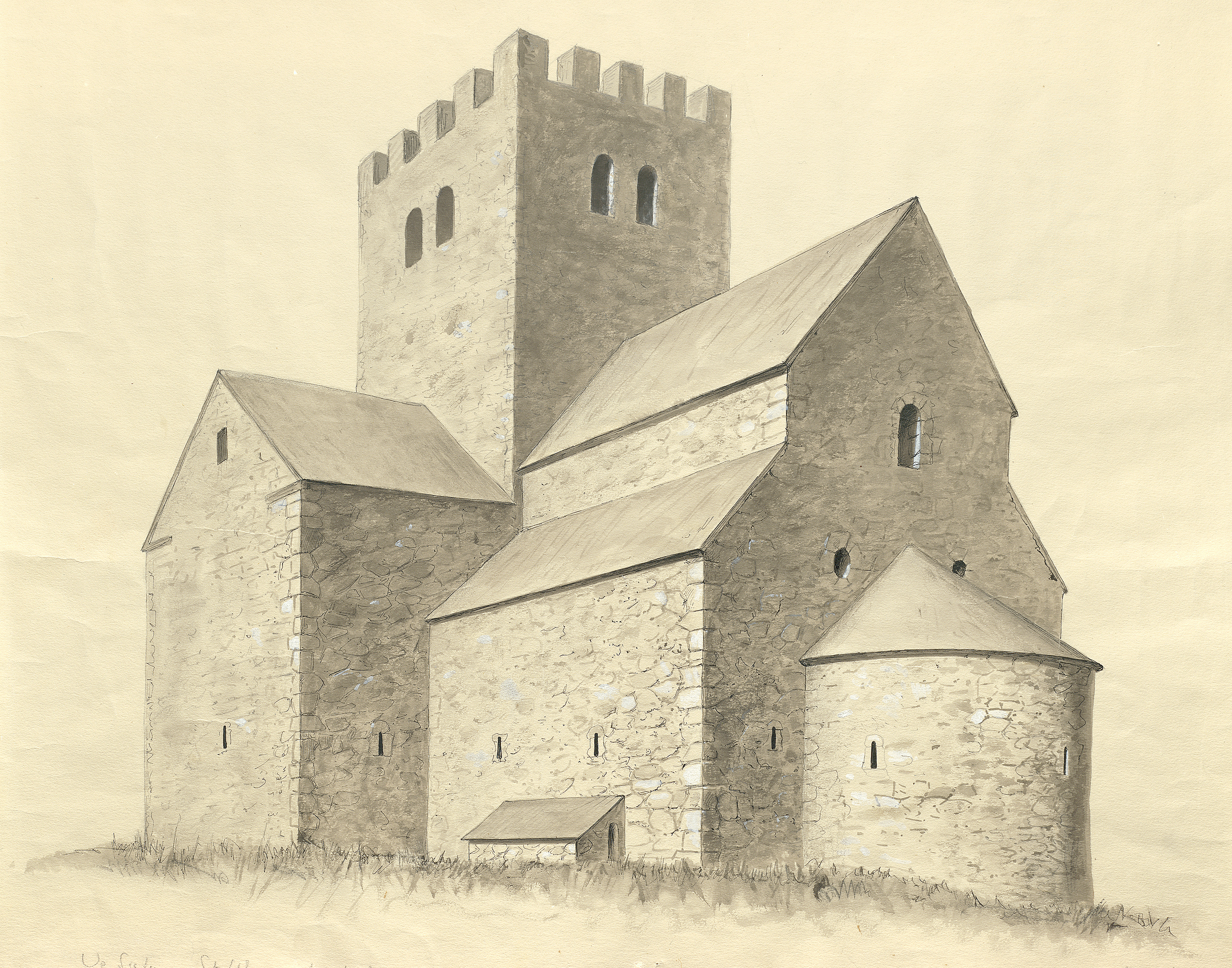 Reconstruction of St. Olof Church Ruin, Sigtuna, Uppland, Sweden