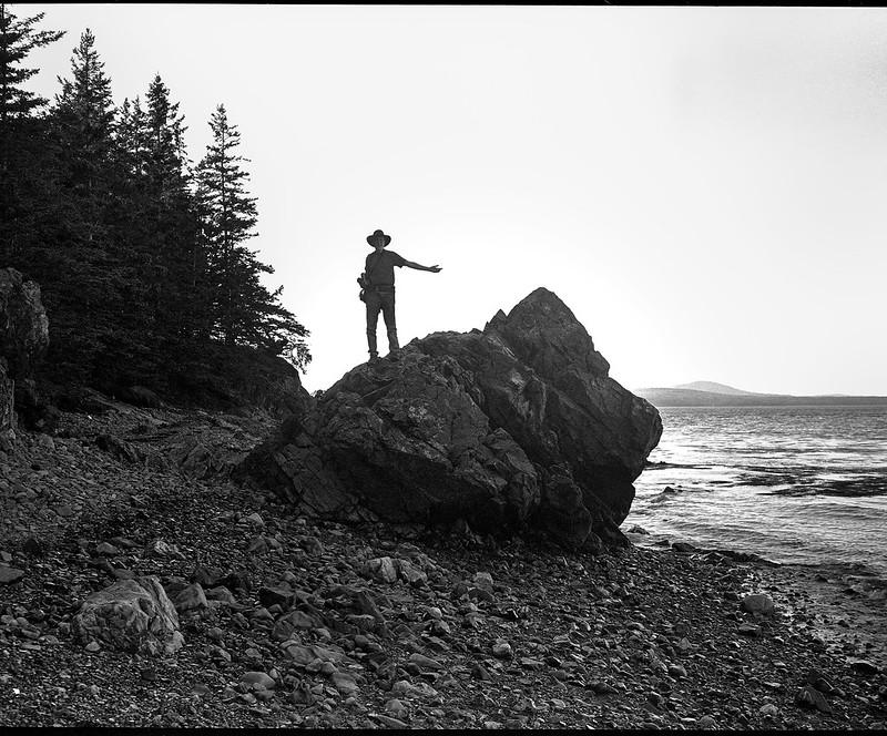 photographer David Aimone, monumental rock form, backlit, beach, Owl's Head, Maine, Koni Omega Rapid 100, Super Omegon 90mm F-3.5, Arista.Edu 200, Ilford Ilfosol 3 developer, 7.18.18