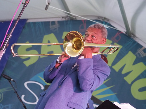 Lucien Barbarin with Yoshio Toyama & the Dixie Saints at Satchmo SummerFest - Aug. 4, 2018. Photo by Michele Goldfarb.