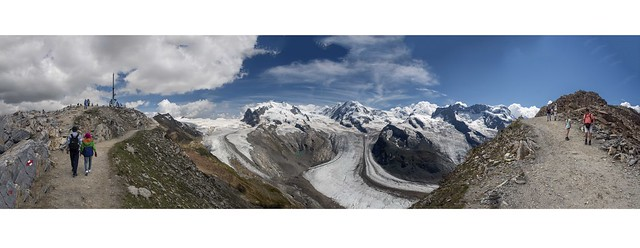 Summer time in Gornergrat , Canton of Valais , Switzerland. 2 8 2018 . A view to Monte Rosa .