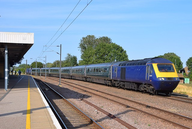 Debranded FGW HST set arrives at Ely on a working from St Philips Marsh TMD to Ely Papworth MLF for secure storage. 01 08 2018