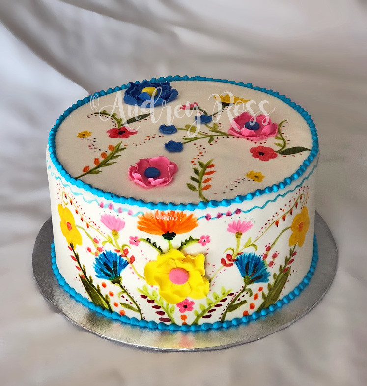 Mexican Flowers Birthday Cake
