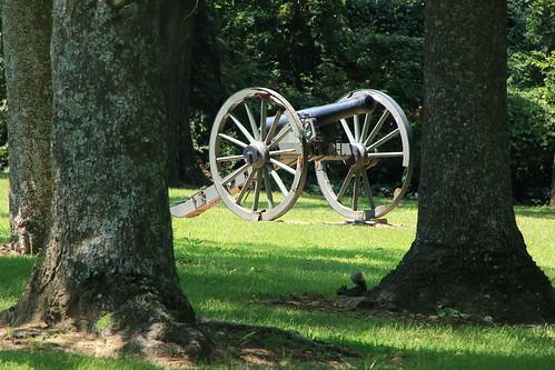 Civil War Cannon among the Trees, Prairie Grove Battlefield State Park - Washington County, Arkansas