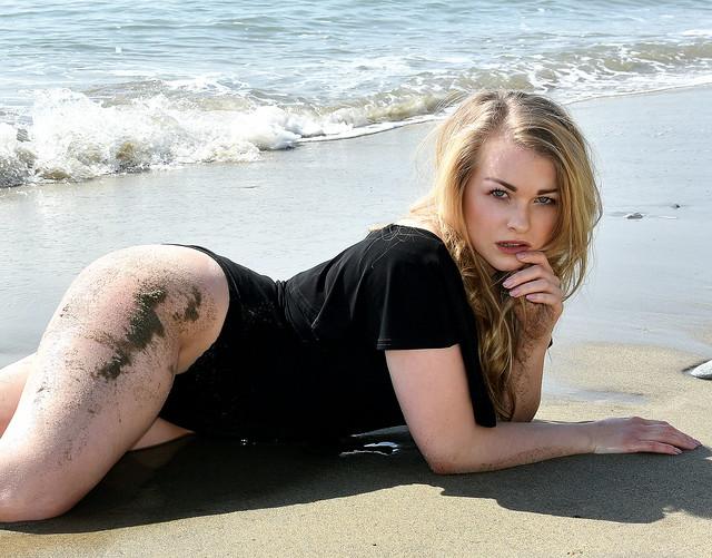 Wet sand.