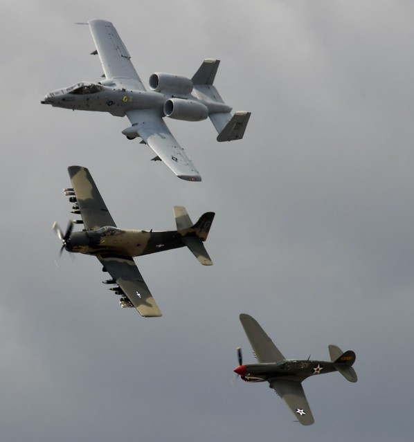 Heritage Flight, A-10 Thunderbolt II, A-1 Skyraider, P-40E Kittyhawk  Abbotsford (YXX) International Air Show