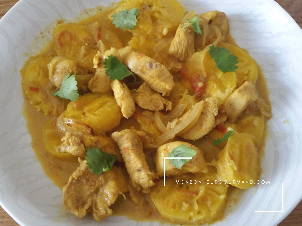 curry vadouvan de bananes plantains jaune