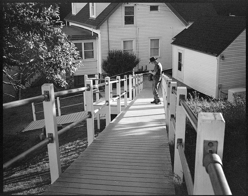 photographer David Aimone at work, late light, lighthouse complex, Owl's Head, Maine, Koni Omega Rapid 100, Super Omegon 90mm f-3.5, Arista.Edu 200, Ilford Ilfosol 3 developer, 7.18.18