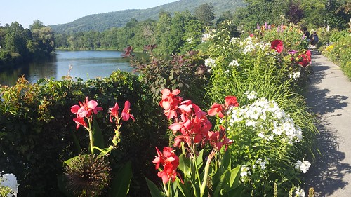 shelburnefalls buckland massachusetts river bridge flowers summer connecticutriver gardens