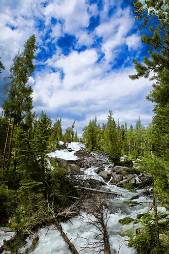 wyoming shoshonenationalforest absarokamountains crazycreek crazycreekfalls waterfall cascade fan slope beartoothhighway runoff snowmelt roaring clouds sky bluesky cloudscape wyojones np