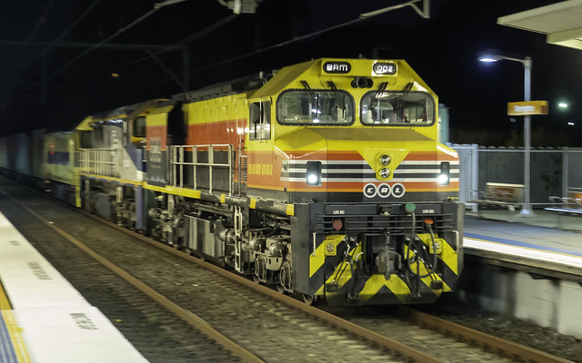 Locomotive BRM002 of CRL Consolidated Rail Leasing leading SSR's 1845 from Botany to Kelso