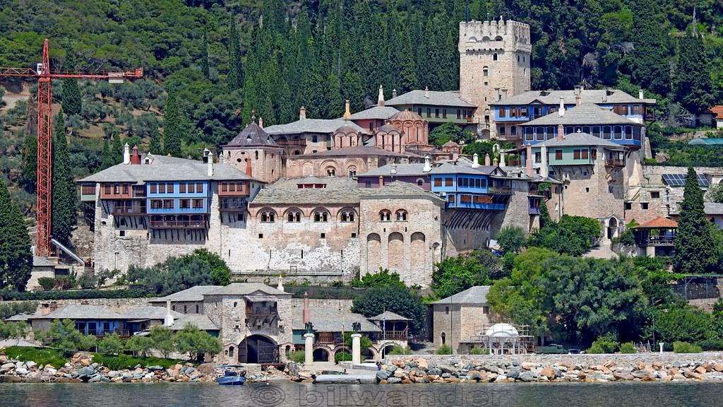 Greece, Macedonia, Aegean Sea, Docheiariou  monastery view from a boat cruising around Mount Athos peninsula