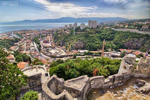 rijeka trsatcastle castle panorama panoramic istria croatia dalmation mediterranean fortress adriaticsea sea europe coastline harbor boat beach mountains travel oldtown