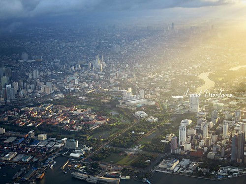 manila aerialview morning sunshine city
