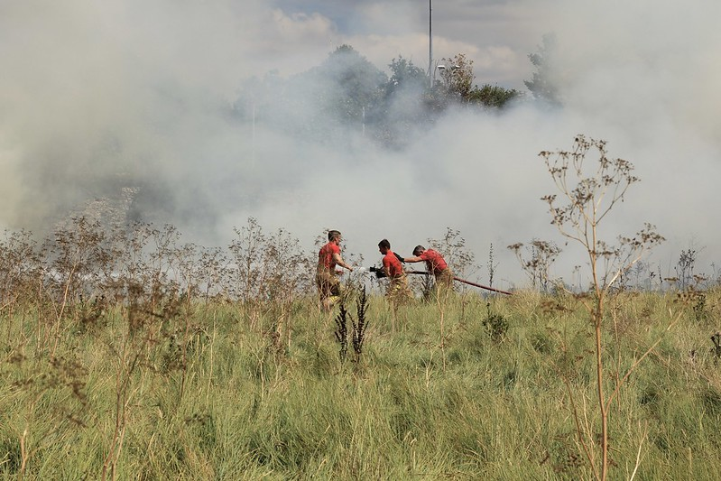 Fighting the Sea Mills grass fire