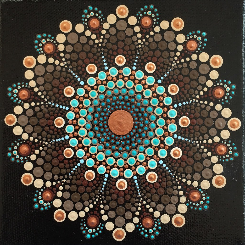 Dotted Mandala | Acrylic paint dots on 15x15cm canvas