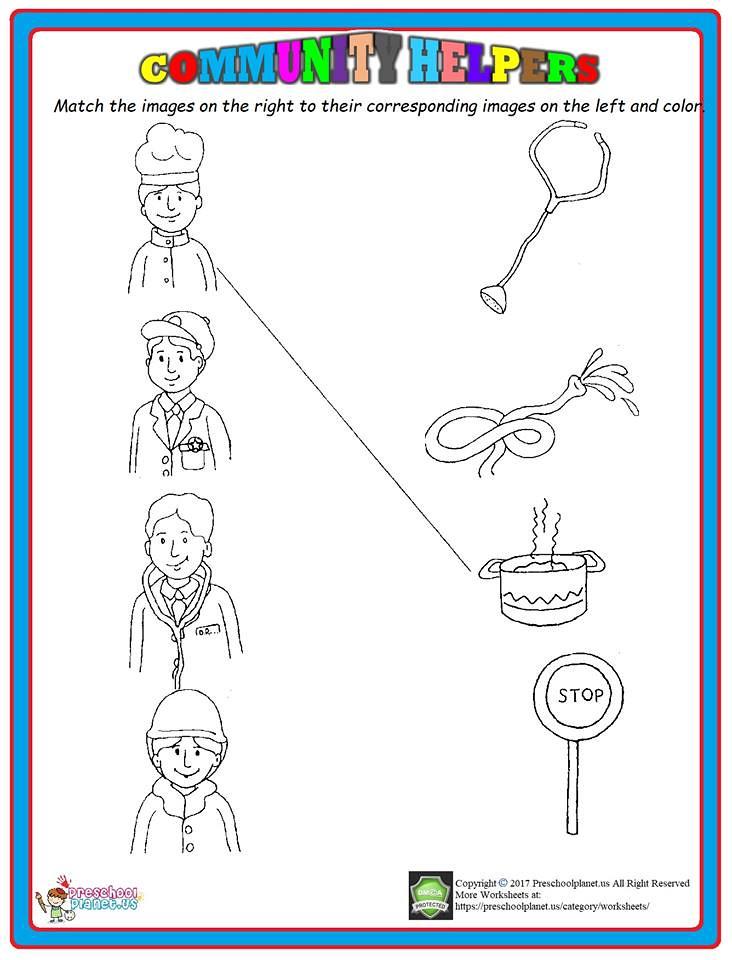 Preschool Community Helpers Matching Worksheet - Preschool Worksheet Gallery
