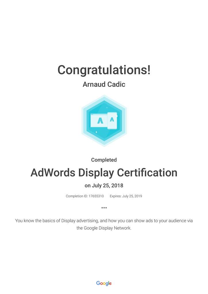 Certifications – Arnaud Cadic
