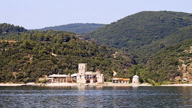 Greece, Macedonia, Aegean Sea, monastery view from a boat cruising around Mount Athos peninsula
