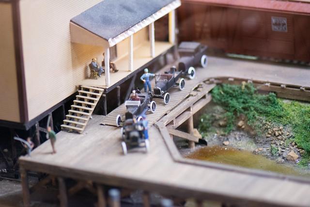 Tiny cars at the railway station