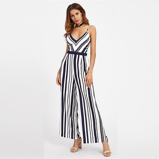 Spaghetti Strap Stripes Jumpsuit
