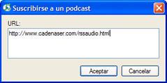 Introducir URL para podcast en iTunes