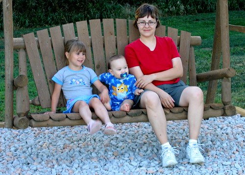 With Mom & Cousin Cameron on the Swing