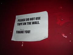 please do not tape on the wall, taped to the wall
