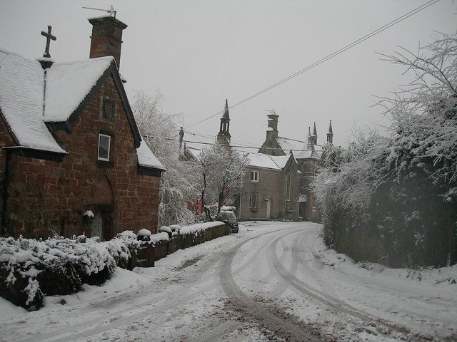 Snow in an old English village