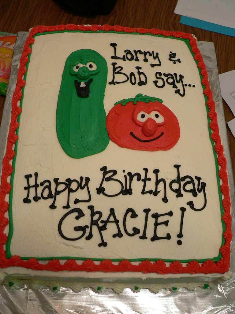 Superb Veggie Tales Cake A Cake Dustin Did A Couple Of Years Ago Flickr Personalised Birthday Cards Veneteletsinfo