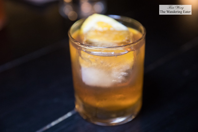 Burning Man - Corsair Triple Smoke Whisky, Creme de Peche, Angostura Bitters, Smoked Orange Zest