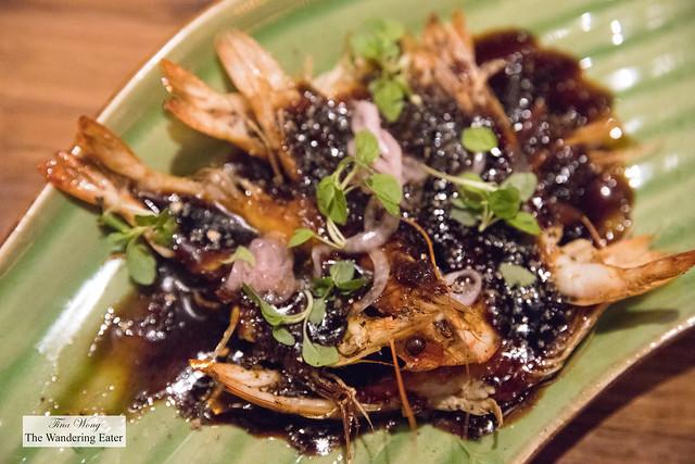 Black pepper prawn, hoisin sauce, ginger, green chili