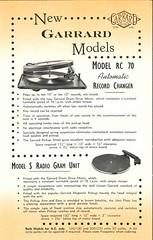 Garrard Descriptive List Annex 1940's