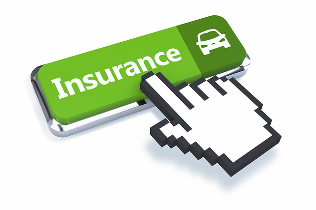 Car insurance button with 3D mouse pointer