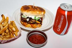 Chito's cheddar bacon-mushroom burger.
