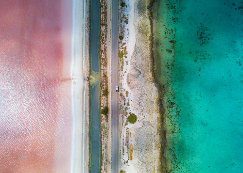 kralendijk bonaire caribbeannetherlands saltflats saltpans salt road sea ocean reef shore beach aerial drone truck water pink white blue frenchflag caribbean antilles french flag sand vertical lines symmetric symmetry netherlands dutch holland coral stone cargill