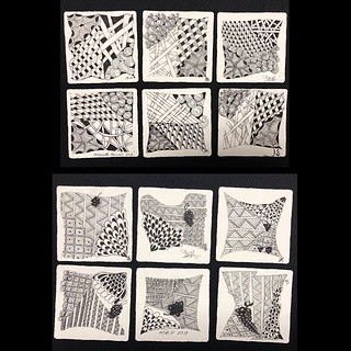"Lovely student tiles from last night's ""Introduction to Zentangle"" class at @walkervilleartistscoop in Windsor, Ontario. #zentangle #tangle #tangling #czt #laurelstoreyczt #art #classes #artclass #artclasses #draw #drawing #windsor #ontario #yqg #wac #wet 