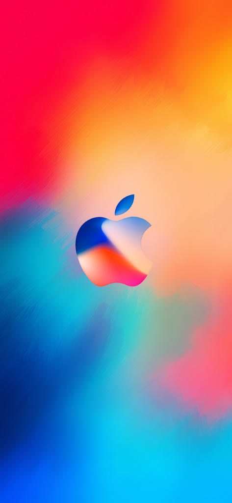 Iphone X Hd Wallpaper Abstract Apple Logo Color Red Blue