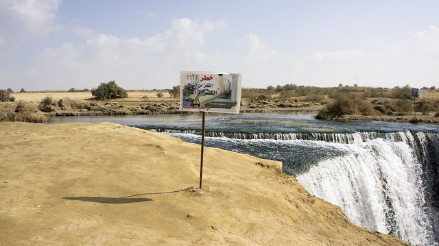 Danger Sign at first waterfall at Egypt's Wadi El Rayan protectorate