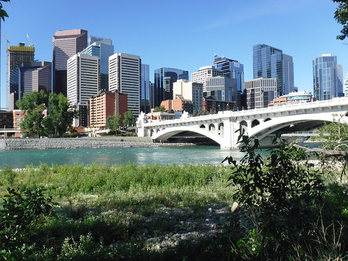 calgary city canada 2018 downtown river bow centre street bridge