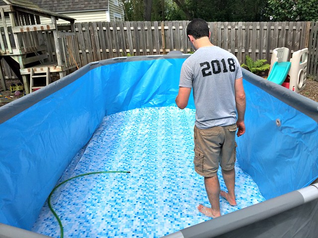 filling up our Bestway pool with water