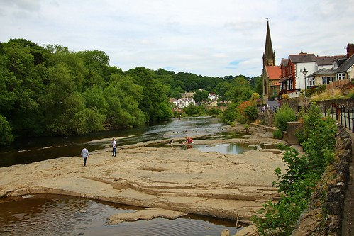 europe uk wales llangollen outdoor river water riverdee trees church landscape beauty simplysuperb